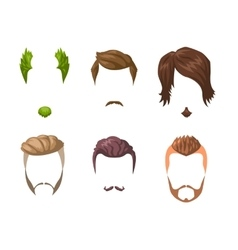 Beards mustaches and hairstyles set vector image
