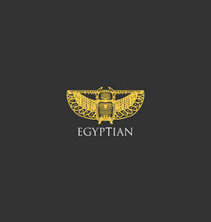egyptian logo with scarab beetle symbol of ancient vector image