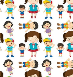 Seamless cute boys and girls vector image vector image