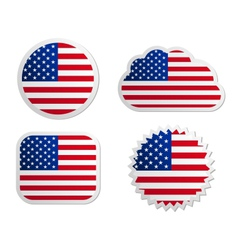 USA flag labels vector image vector image