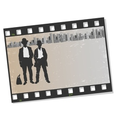 Film frame with silhouettes gangsters vector image vector image