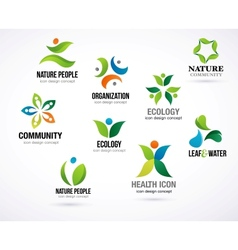 green nature symbols elements and icons vector image