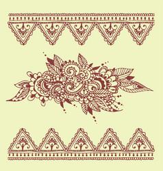 henna tattoo brown mehndi flower doodle ornamental vector image vector image