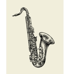 Jazz music Hand drawn sketch saxophone musical vector image vector image