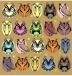 Seamless colourfull owl pattern vector image vector image