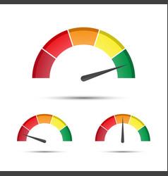 set of color tachometers flowmeter vector image