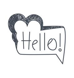 word hello hand drawn comic speech bubble vector image vector image