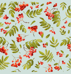 autumn rowan berry seamless background vector image vector image