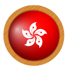 flag of hongkong on round frame vector image