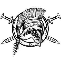 Legionnaires helmet swords and board vector image