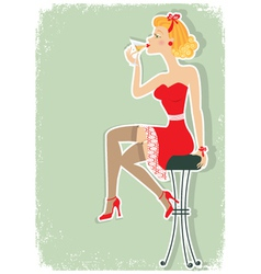 martini in red dress vector image vector image