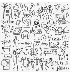Music dance doodles vector