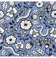 Seamless background with worms vector image