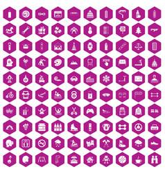 100 children activities icons hexagon violet vector image