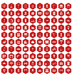 100 comfortable house icons hexagon red vector