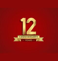 12 years anniversary golden design color vector
