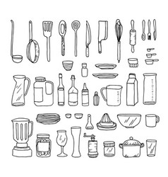 a set of kitchen objects line vector image