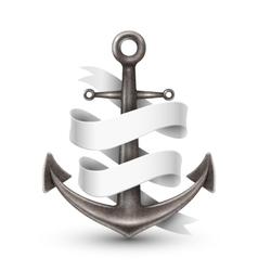 Anchor With Ribbon 3d Design vector