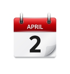 April 2 flat daily calendar icon Date and vector