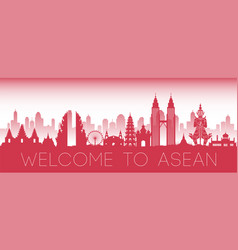 Asean famous landmark red silhouette design vector
