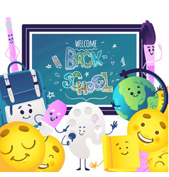 Back to school banner with various cancery items vector
