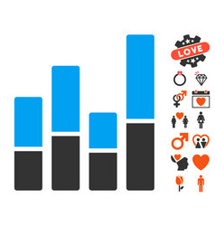 Bar chart icon with dating bonus vector