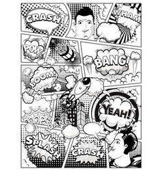 black and white comic book page vector image
