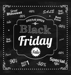 Black friday chalkboard background vector