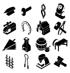 blacksmith tools icons set simple style vector image