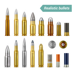 Bullets and cartridges realistic set vector