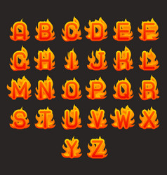 burning fire flame hot alphabet a to z font design vector image