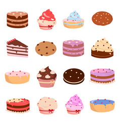 cakes and bakery icons set on white background for vector image