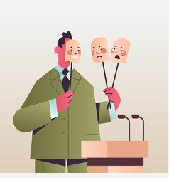 Candidate politician covering face under masks vector