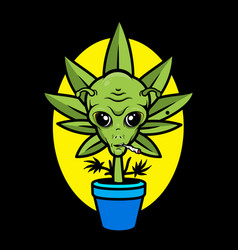 cannabis in pot with alien face vector image