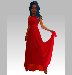 Cartoon beautiful woman in long red dress vector