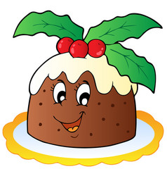 cartoon christmas pudding vector image