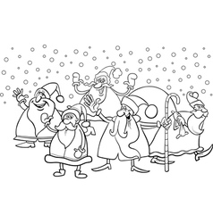 cartoon santa clauses coloring page vector image