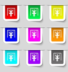 child swinging icon sign Set of multicolored vector image vector image