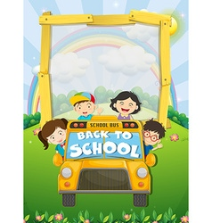 Children riding on school bus vector image