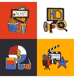 Cinema design concept flat icons set vector