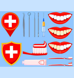 colorful cartoon dental care set vector image