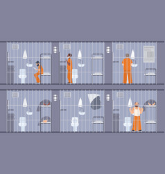 colorful featuring prisoners behind vector image