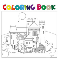 Coloring book with castle vector