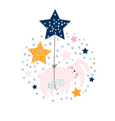 cute bunny sleeping in balloons stars design vector image