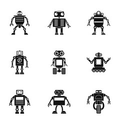 Cyborg icons set simple style vector