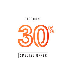 Discount 30 special offer template design vector