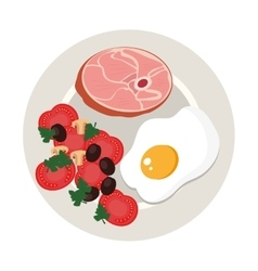 Dish with meat and egg vector