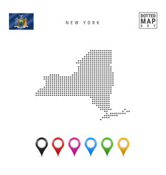 Dots pattern map new york stylized silhouette vector
