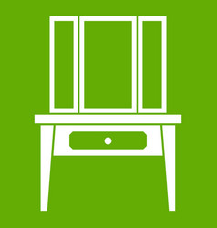 dressing console pier-glass icon green vector image