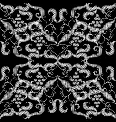embroidery black and white grapes baroque vector image